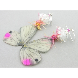 Handmade copper pink white butterfly wing earrings lampwork resin yarn sterling