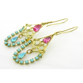 Artisan made turquoise pink rhinestone chandelier brass earrings