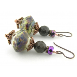 Handmade purple brown ivory earrings, lampwork petrified wood copper