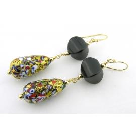 Handmade earrings with blue lavendar lampwork glass, kyanite, sapphire, sterling