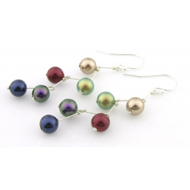 Pearl Stairway Earrings multicolor red purple green gold sterling kinetic
