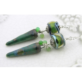 Handmade dark green organic earrings with chrysoprase ceramic spike lampwork