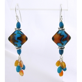 Handmade turquoise orange lampwork earrings carnelian turquoise sterling