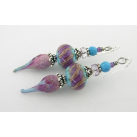 Artisan made rose pink turquoise sterling silver earrings drip lavendar purple