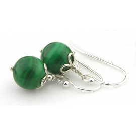 Artisan green malachite earrings sterling silver petals st. patricks day
