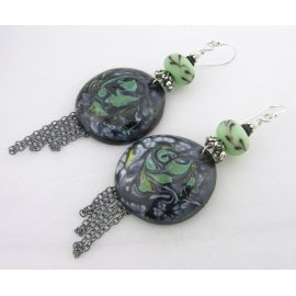 Handmade earrings mint green lampwork black onyx enamel sterling