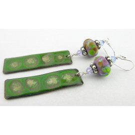Artisan made green purple enamel on copper earrings lampwork sterling