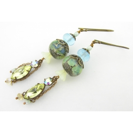 Handmade earrings with green blue yellow lampwork crystal Czech glass brass