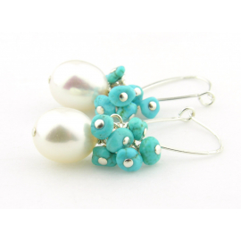 Artisan made sterling earrings with white pearls and sleeping beauty turquoise