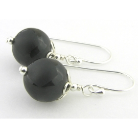 Artisan etched black onyx earrings sterling silver random lines petals