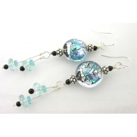 Handmade earrings with aqua blue black Venetian glass, onyx, apatite sterling
