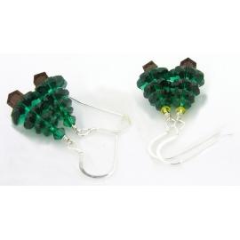 Swarovski Crystal Christmas Tree Earrings green clear