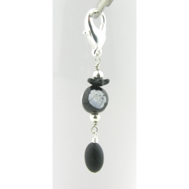 Artisan made black and white stitch marker Venetian bead black jade silver