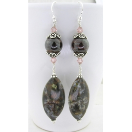 Artisan made brown jasper boulder opal earrings Swarovski crystals sterling