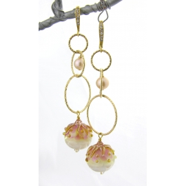 Handmade gold pink earrings with artisan lampwork freshwater pearls gold fill