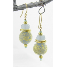 Handmade earrings with baby blue gold venetian bead chalcedony gold fill vermeil
