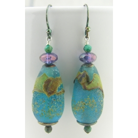 Artisan etched aqua earrings with artisan lampwork glass, chrysocolla, sterling