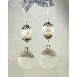 Artisan made white sterling earrings with pearls porcelain disks
