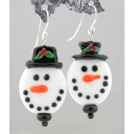 Artisan made white glass snowman face earrings in sterling Christmas winter hat