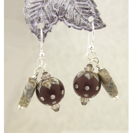 Handmade maroon brown earrings, lampwork, jasper and sterling