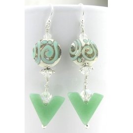 Handmade earrings light green white etched lampwork aventurine crystals sterling