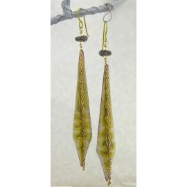 Handmade yellow gray earrings enamel brass citrine dinosaur bone niobium