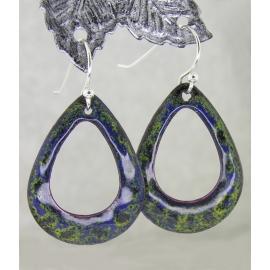 Artisan made blue and lime enamel on copper earrings sterling