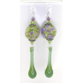 Handmade earrings green purple lampwork peridot gemstone sterling silver