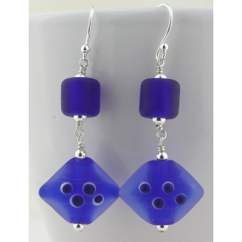 Handmade earrings with dark blue lampwork glass, sterling silver