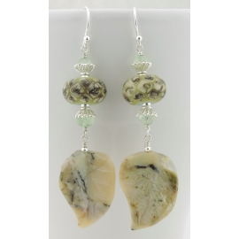 Handmade pale green organic earrings with prehnite, african opal leaf lampwork