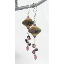 Handmade beige black maroon wine red lampwork earrings pink tourmaline sterling