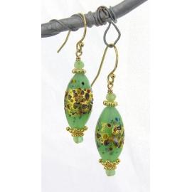 Handmade earrings with light green klimt style venetian beads gold fill vermeil