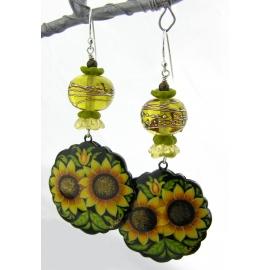 Hand made yellow green black sunflower earrings lampwork glass bronzite sterling