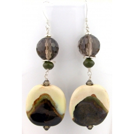 Handmade ivory green brown earrings kazuri ceramic smoky quartz jasper sterling