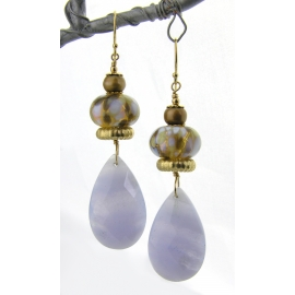 Handmade earrings with light blue lace agate beige lampwork pearls gold fill