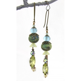 Handmade earrings with green blue yellow lampwork crystal Czech glass brass