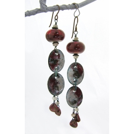Artisan red black enamel on copper earrings lampwork zircon gemstone niobium