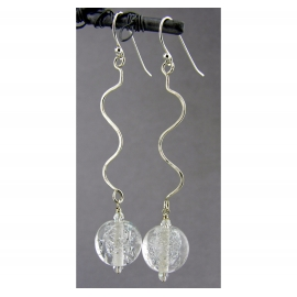 Silver Sparkle Earrings - clear sparkle drop sterling silver squiggle artisan
