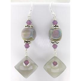 Handmade earrings purple grey lampwork cube moonstone diamond sterling crystal