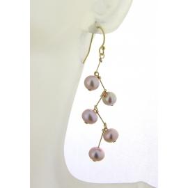 Pearl Stairway Earrings gold filled pink lilac freshwater pearl metallic kinetic