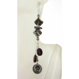 Artisan made brown white agate coffee earrings pearls bean cup crystal sterling