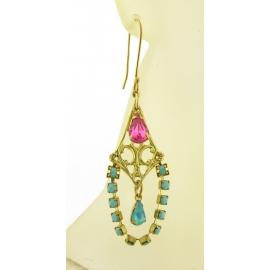 Artisan made turquoise pink rhinestone chandelier brass earrings