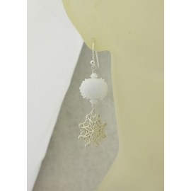 Artisan made white sterling earrings with snowball lampwork snowflake