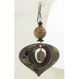 Handmade earrings with red yellow creek jasper drops enamel black onyx copper