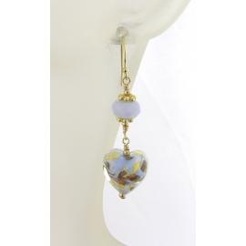 Handmade earrings with light blue white gold venetian hearts agate gold fill