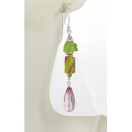 Handmade pink, peridot earrings with furnace glass, topaz sapphire, sterling