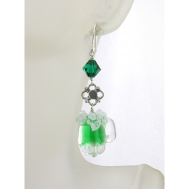 Artisan made green sterling earrings with frothy green beer mug Swarovski cryst