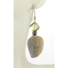 Handmade earrings yellow grey lemon quartz agate leaves sterling