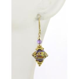 Handmade earrings with purple klimt style venetian beads amethyst gold fill