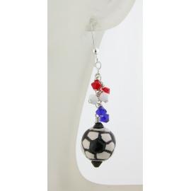 Handmade soccer earrings red white blue usa france futbal sterling